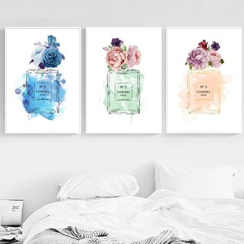 Paris Brand Logo Perfume Flower Nordic Posters And Prints Wall Art Canvas Painting Decoration Pictures For Living Room Decor