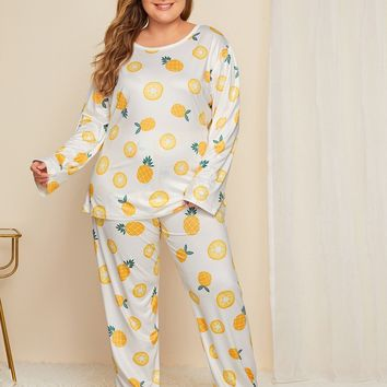 Plus Fruit Print Long Sleeve Night Dress