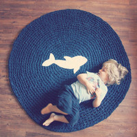 Whale Rug Cotton Round Crochet Play Mat