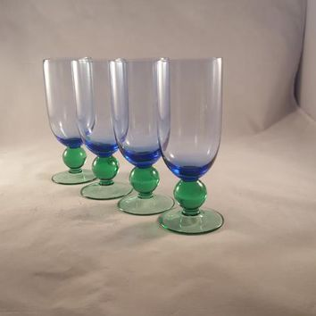 Hand Blown Blue Goblets with Green Ball / Stem