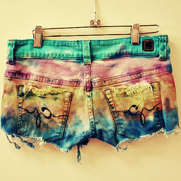Cecilia. ombre. boho. tie dye. hippy. rocker. short shorts. Reduced price