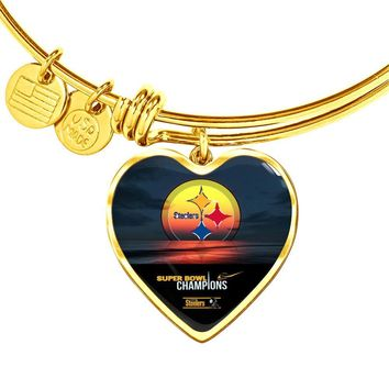 Luxury Pittsburgh Steelers Bracelet Handcrafted Can Be Engraved Any TEXT (Stainless/Gold)