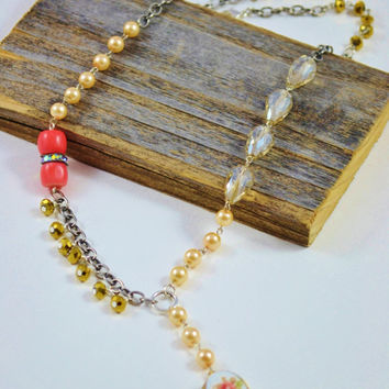 Vintage Locket Necklace, antique style jewelry, Beaded locket necklace, eclectic chain necklace, Coral jewelry, gold beaded necklace