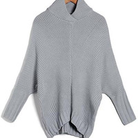 'The Jewel' Gray Batwing Sleeve Asymmetric Turtleneck Sweater