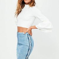 Missguided - Blue Lace Up Side Pencil Skirt