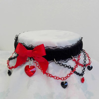 Limited 'Made To Order' Red And Black Deluxe Harley Velvet Choker Embellished With Chains And Swarovski Elements Heart Pendants