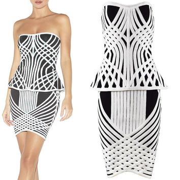 New Brand Fashion Women Rayon Bandage Dresses Black and White Striped Strapless Two piece Bandage Set