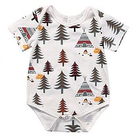 Newborn Baby Boys Girls Cotton Short Sleeve Romper Infant Boy Girl Forest Tree Jumpsuit Kids Clothes Outfit