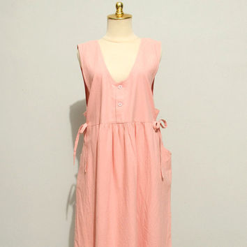 Vintage 80s Pink Apron Dress by dariavintage on Etsy
