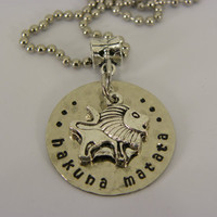 Hakuna Matata lion necklace silver hand stamped distressed