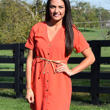 just a small town girl dress, red button up with belt