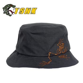 """TSNK """"Skull Frog"""" Outdoors Military Embroidery Tactical BONNIE HATS Round-brimmed Sun Hunting Cap fishing hat"""