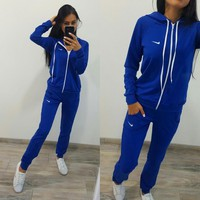 "Women Fashion ""NIKE"" Hoodie Top Sweater Pants Sweatpants Set Two-Piece Sportswear"