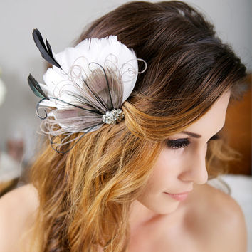 Grey, Ivory, Bridal Hair Accessories, Gray Peacock Feather Fascinator Wedding Hair Clip Vintage Velvet Leaves - Made to Order - TONI design
