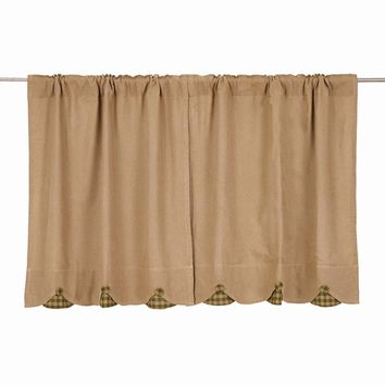Burlap with Green Check Tier Curtains 36""