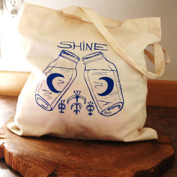 SMALL Gift/Tote Bag - Moonshine - Cotton Canvas -  Hand Screen Printed