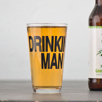 Drinking Man 4 hand printed pint glasses  dark charcoal by vital