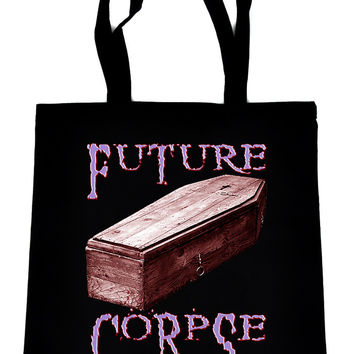 Future Corpse w/ Coffin on Black Tote Book Bag Gothic Deathrock Handbag
