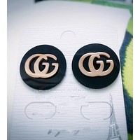 GUCCI Stylish Women Letter Titanium Steel Rose Golden Stud Earrings Jewelry I11925-1