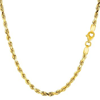 10k Yellow Solid Gold Diamond Cut Rope Chain Necklace, 2.75mm