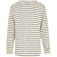 River Island MensEcru stripe loopback long sleeve top