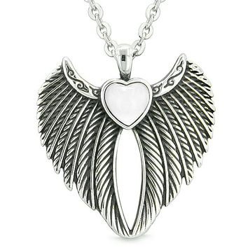 Angel Wings Magic Heart Protection Powers Amulet White Simulated Cats Eye Pendant 18 inch Necklace
