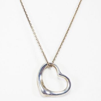 Floating Heart Necklace Signed Tiffany & Co Elsa Perretti 925, Sterling Silver Chain Vintage 1990s Sterling Heart and Chain Necklace