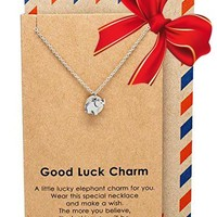 Kathy Elephant Necklace with Good Luck Charm
