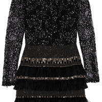 Matthew Williamson - Embellished lace and chiffon mini dress