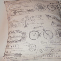 Decorative Pillow Cover, Throw pillow Cover,  18 x 18, Paris, Bicycle, Paris Key # 260, Grande Maison De Blanc,Paul Charvet, Charte Postale