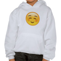 White Smiling Face Emoji Hooded Sweatshirts