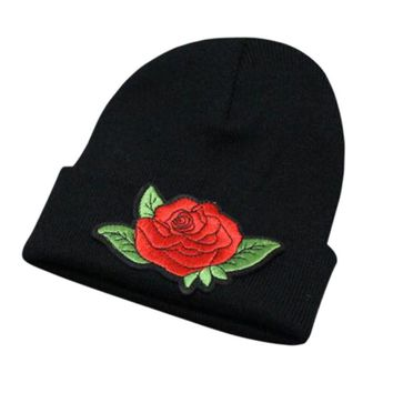 Unisex Beanie Women Mens Knitted Winter Warm Oversized Ski Slouch Hat Cap Baggy Beanies Floral Embroidery Cotton Black White Hat