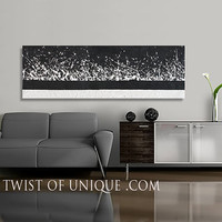 City lights at night abstract Painting/ ORIGINAL Painting ( 48-Inches x 17.5-Inches)/ AcryliCrete painting /City lights, White, black