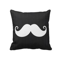 Funny white mustache on black gray striped pattern throw pillows from Zazzle.com