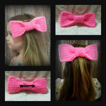 Hot Pink Oversized Bow Barrette (neon, crochet, clip, large, hair)