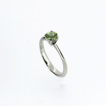 Peridot solitaire engagement ring, white gold, Peridot ring, blue wedding, crown setting, Peridot engagement, green solitaire, nickel free