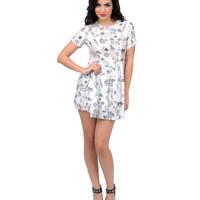 White & Multi Bad Girls Don't Cry Babydoll Dress