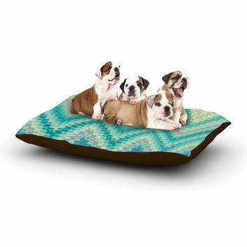 "Nika Martinez ""Seventies Emerald Chevron"" Green Abstract Dog Bed"