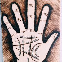 Palm Reading Illustration on Wood