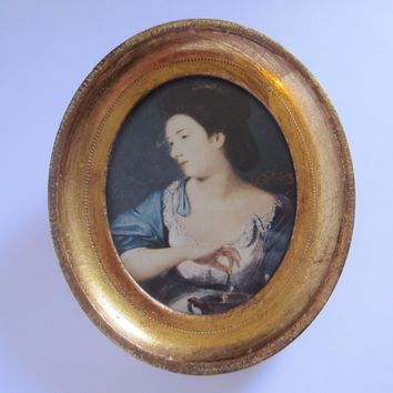 Victorian Style Paper Portrait In Oval Gilt Frame
