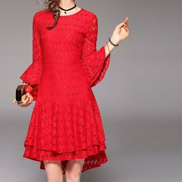 Spring summer runway Hollow out leaf pattern lace dress flare sleeve cute dress