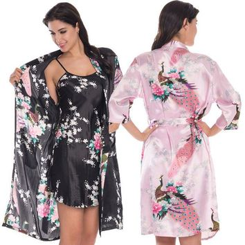 DCCKL72 2 Piece Set Women Silk Peacock Kimono Robes Sexy Lingerie Women Wedding Party Bridesmaid Robe Satin Nightgown Bathrobe Pijama
