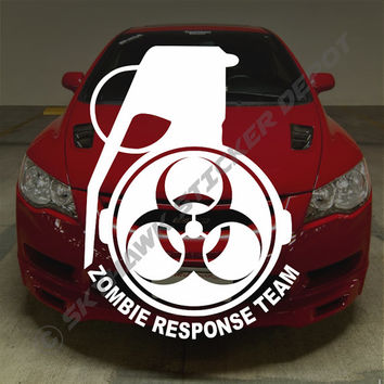 Zombie Response Team Grenade Bumper Sticker Vinyl Decal Biohazard The Walking Dead Apocalypse Team Honda Acura Dope Turbo Jeep BMW Chevy