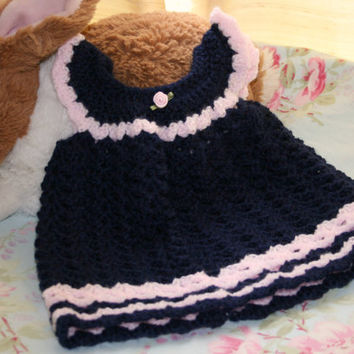 Baby crochet dress baby girl clothes summer navy blue pink crochetyknitsnbits handmade baby shower gift layette Newborn baby to 3 months