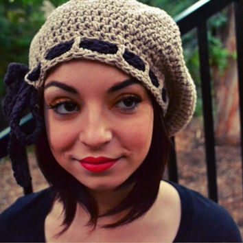 Crochet Beret with Ribbon - Crochet Hat - Cotton Hat - Beige - Brown - Neutral Color - Slouchy - Spring - Summer - Mothers Day