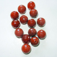 Polished Round Red Agate Beads
