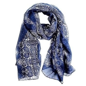 Beady Silk Scarf Blue Victorian Design - Navy Blue