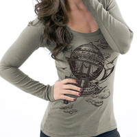 Eco Fashion Vintage Steampunk Airship Alternative Apparel Organic Long Sleeve Tshirt Earth Moss
