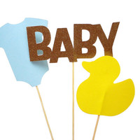 3 Baby Boy Shower Centerpiece Wands, Baby Shower Party Decorations - No1081