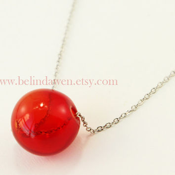 Transparent Glass Bubble Necklace, bubble necklace, red bubble Necklace, Transparent Necklace with hand blown glass